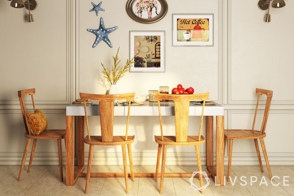 wake up sid-wooden chairs-dining table-posters-lights