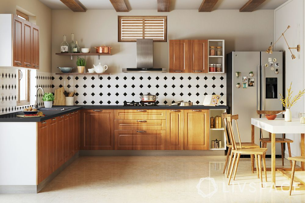 wake up sid-kitchen-wooden finishes-white walls-ceiling rafters-dining table