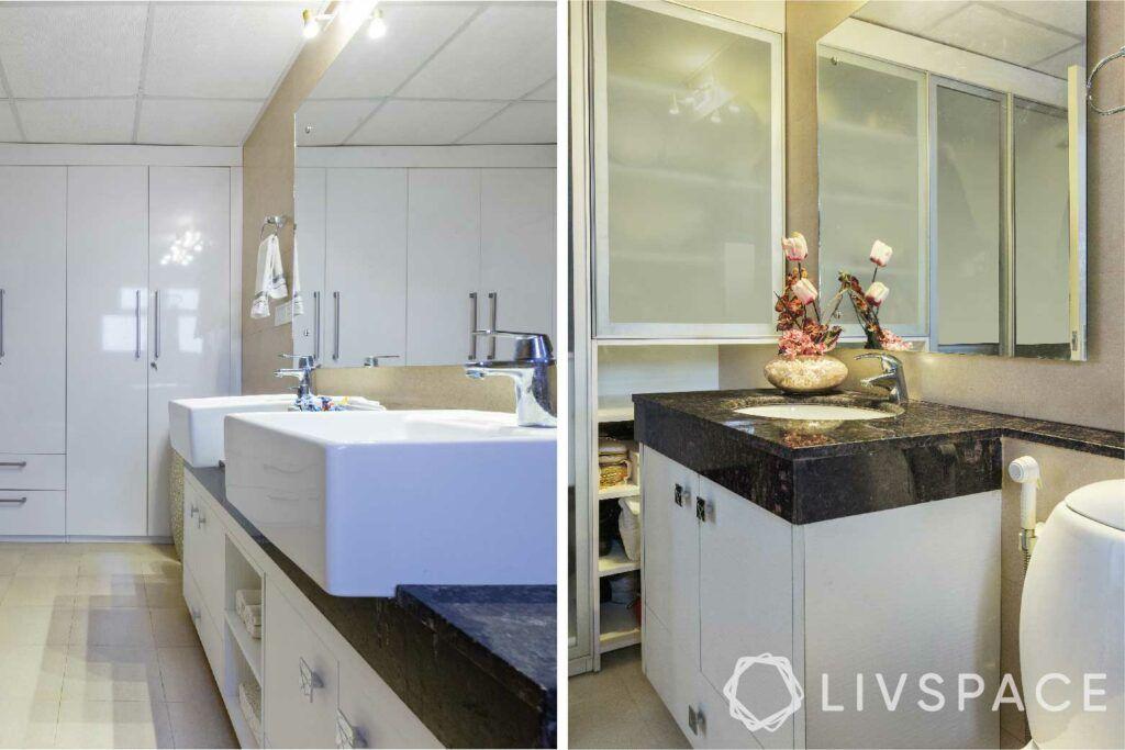 toilet design-white wardrobe-frosted cabinets-sinks-under sink storage