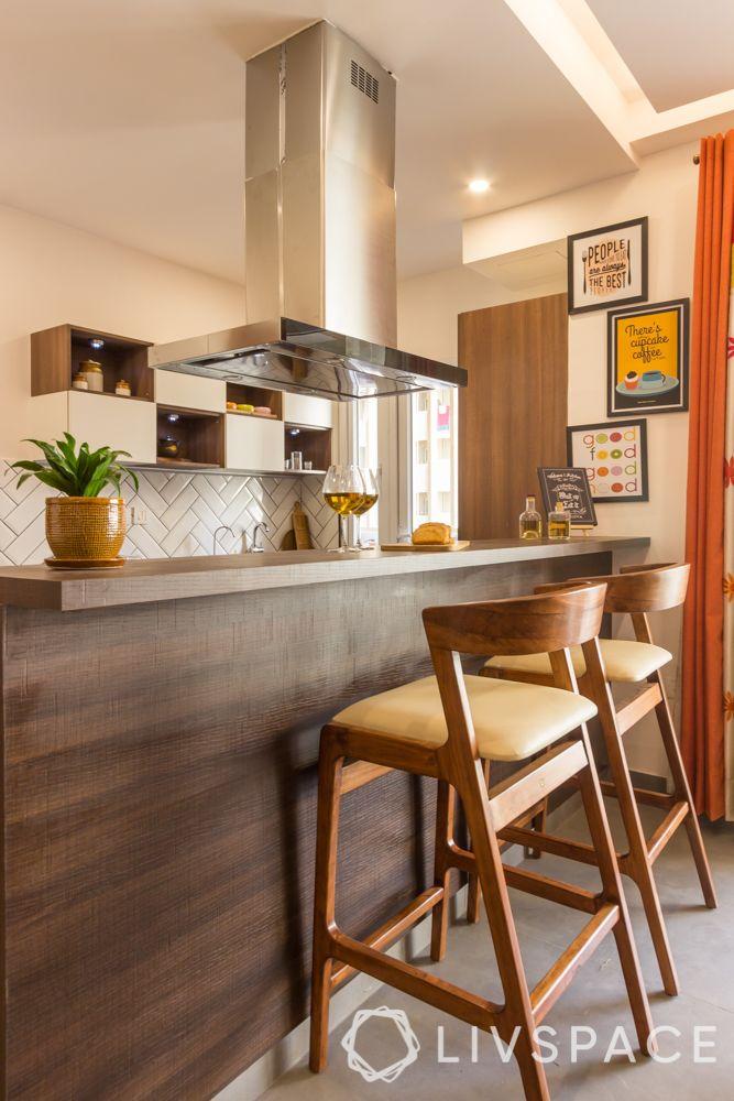 3bhk interior design-kitchen-bar counter