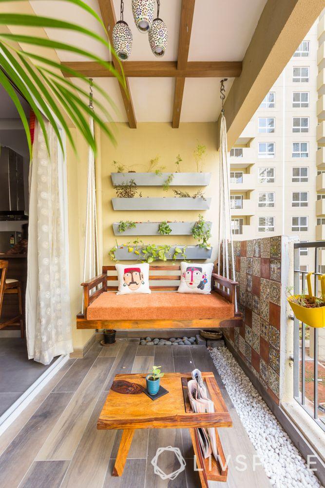 3bhk in bangalore-balcony-ceiling design-balcony railings-planters