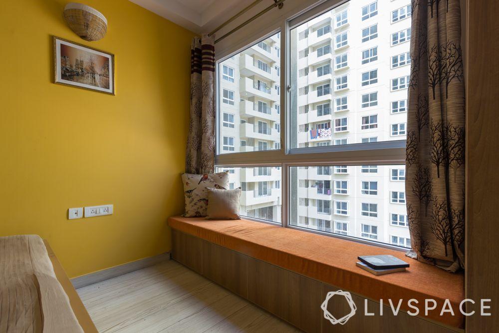 3bhk interior design india-guest bedroom-bay window