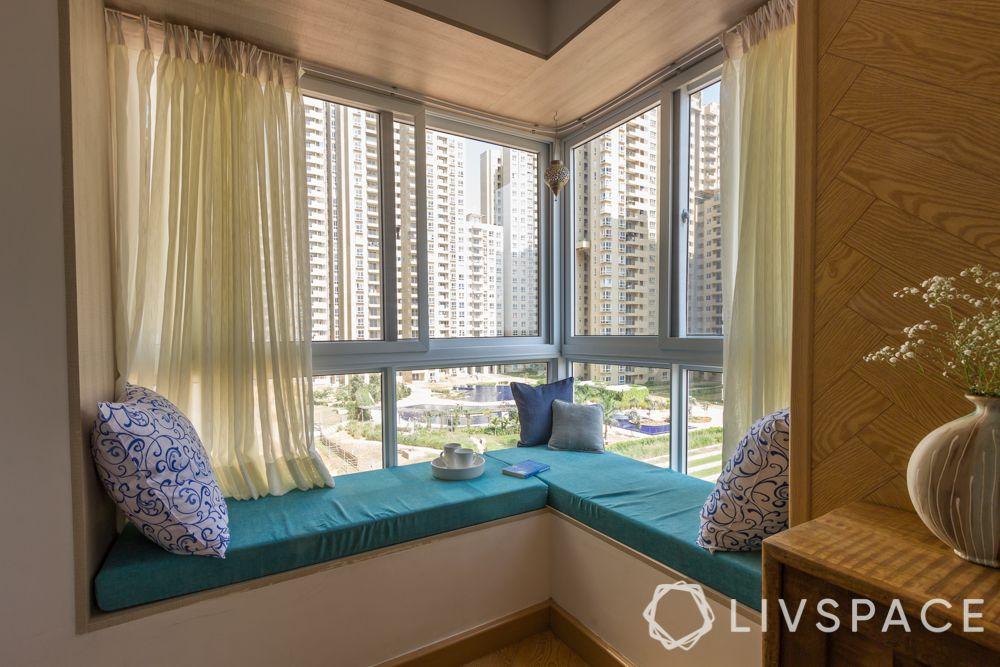 3bhk interior design india-bay window-master bedroom