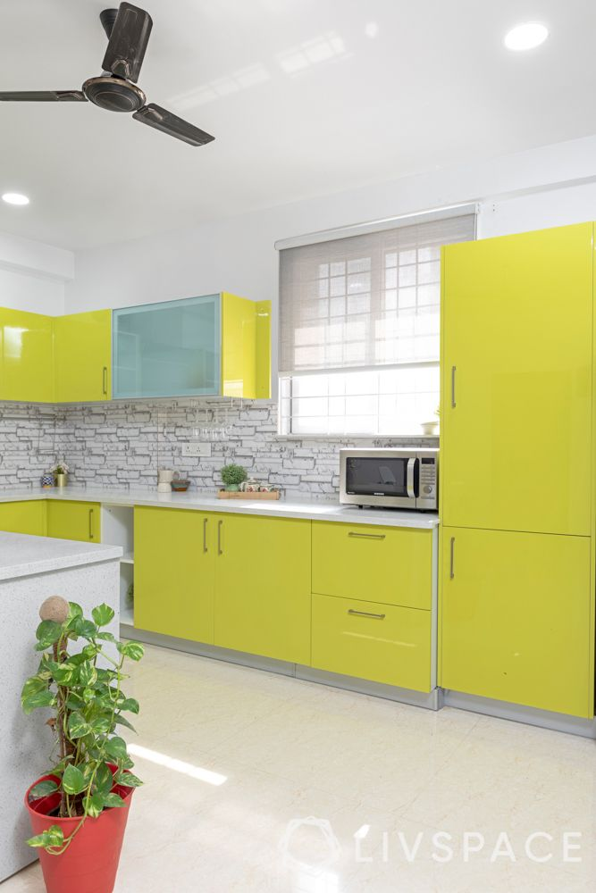 Kitchen room design-membrane finish-magnolia and white-double door tall unit