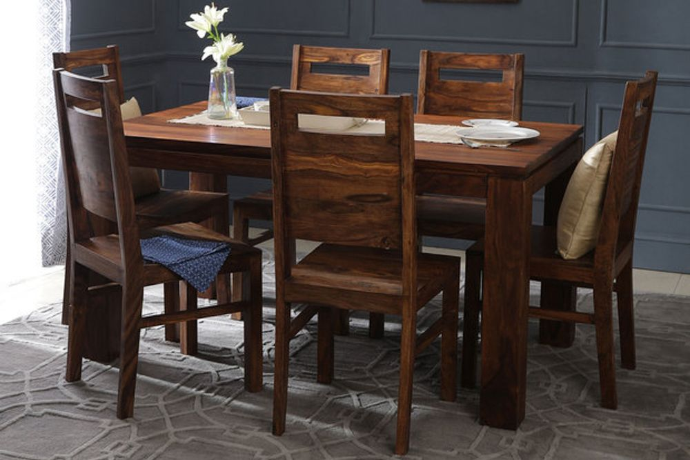 room furniture-solid wood dining table-six seater-wooden traditional
