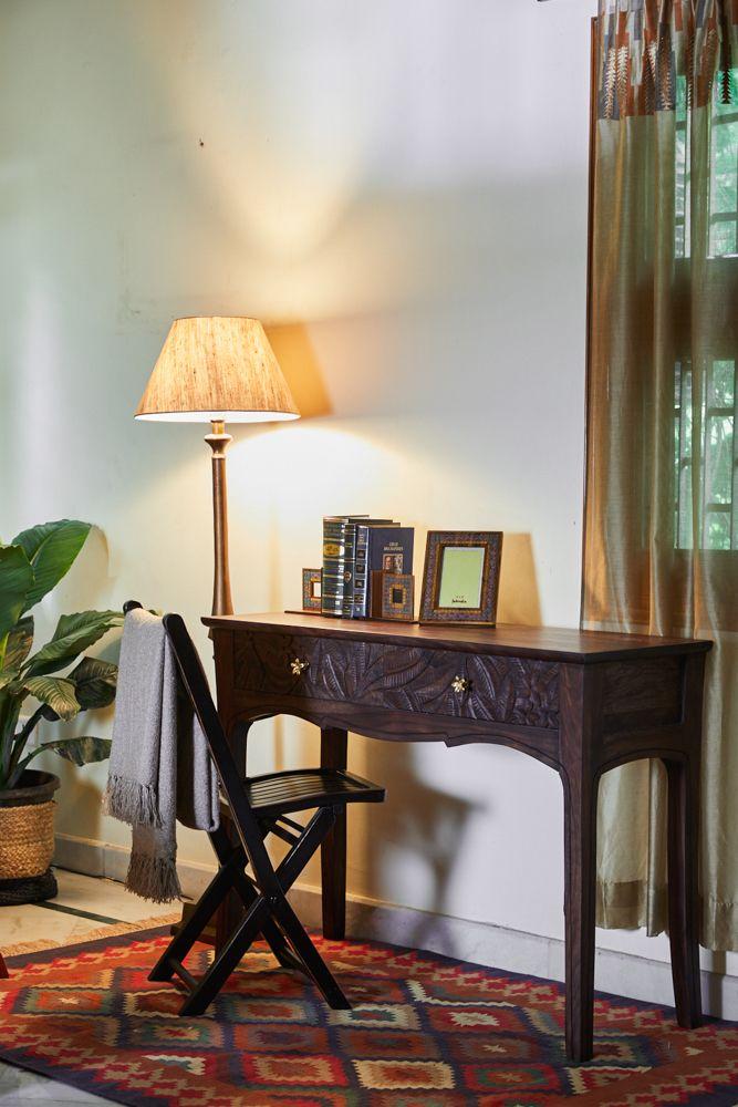 room furniture-study unit-lamp-rug-vintage