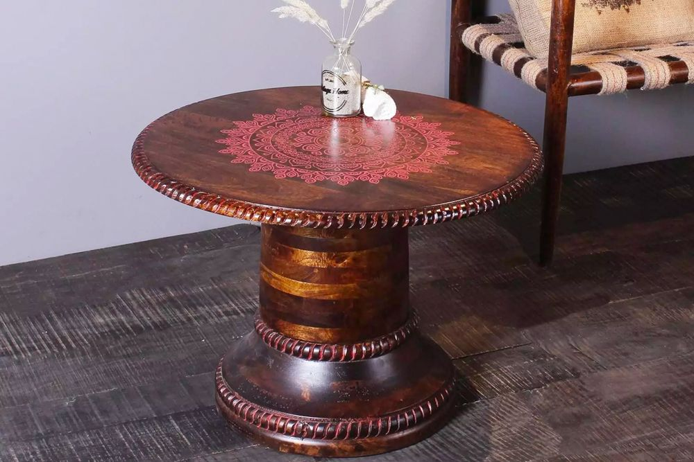room furniture-round-hand-painted table-coffee table-traditional