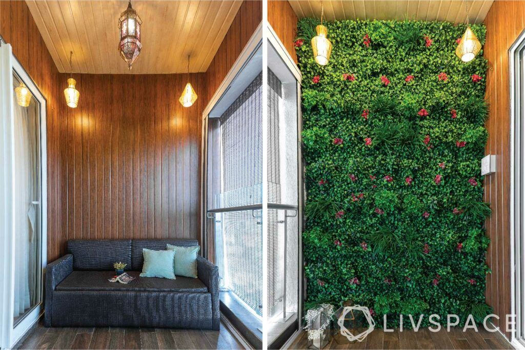 home video tour-vertical garden-wooden ceiling and flooring-lanterns and pendant lights
