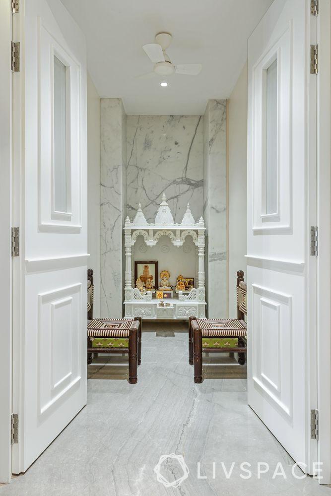 pooja room vastu-white marble