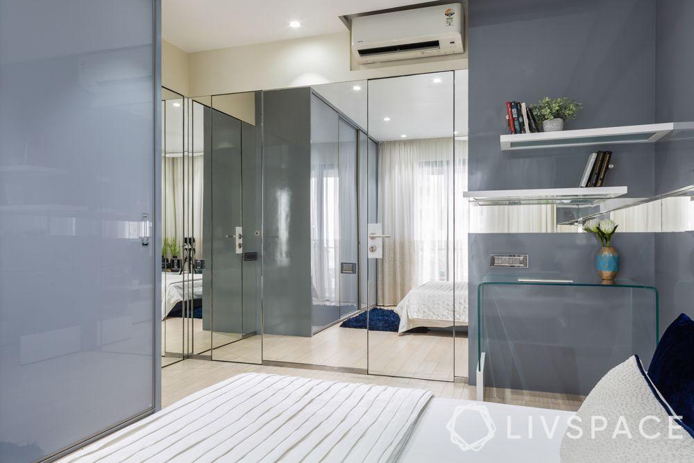 Master bedroom-glass study table-mirror panel