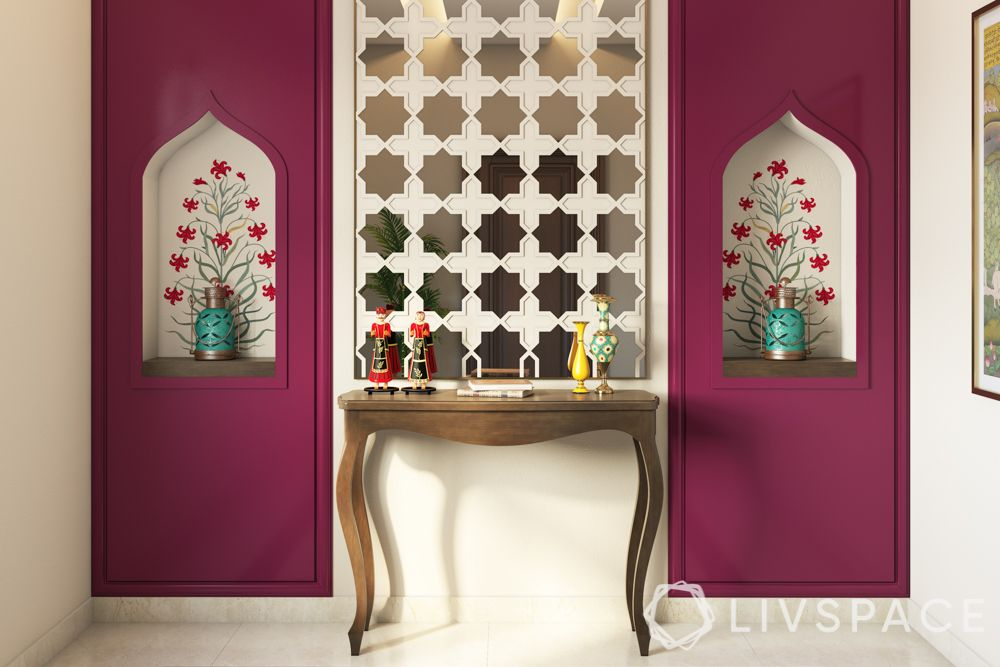 pink wall-mirror-lamps-console table
