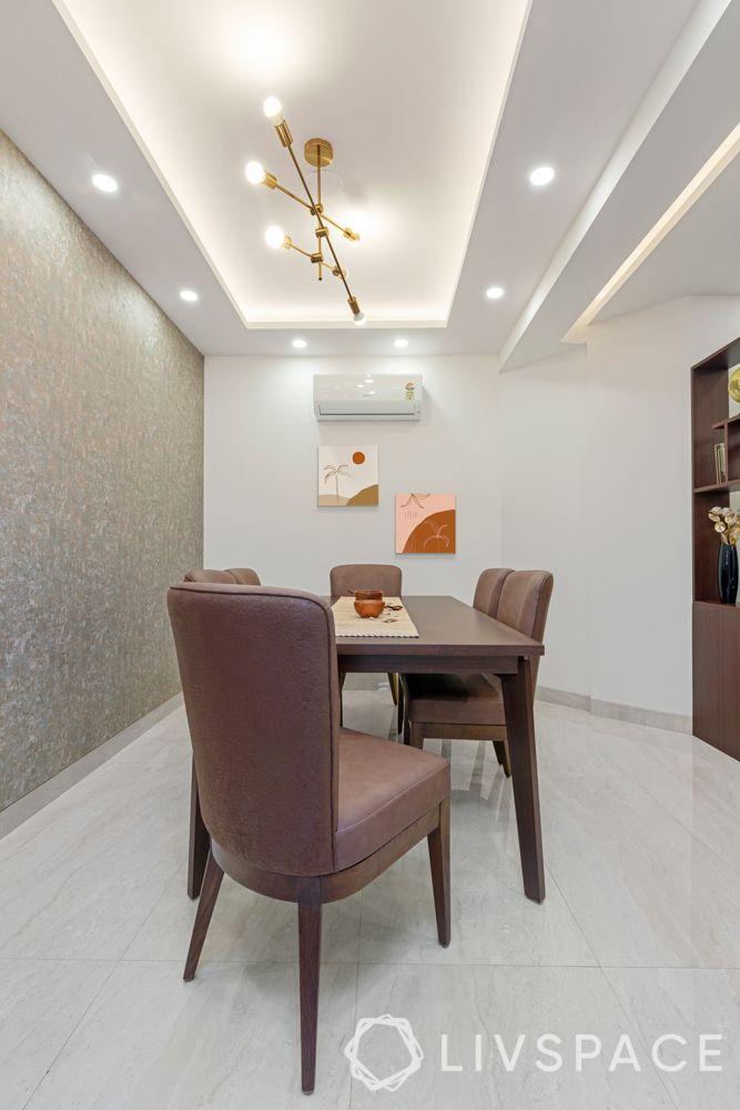 3 bhk design-wooden partition-shoe cabinet-chandelier-false ceiling design