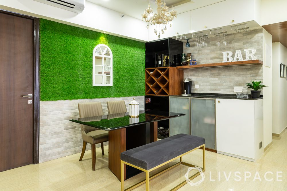 home bar-black glossy laminate-granite countertop-tile cladding-led lighting-artificial turf-dining room chandelier