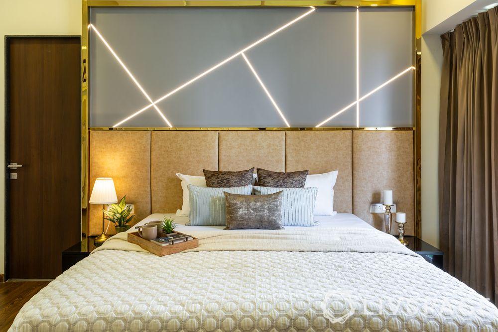 master bedroom-headboard-led lighting-table lamp