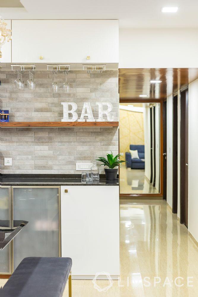 home bar-black glossy laminate-granite countertop-tile cladding-led lighting