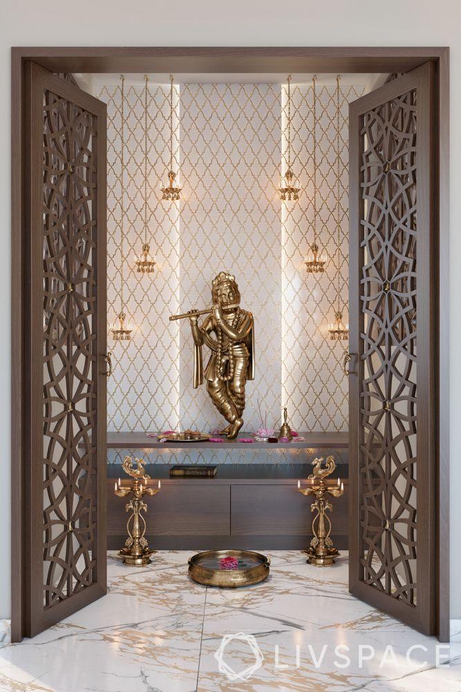 mandir at home-platform-jaali door-lamps