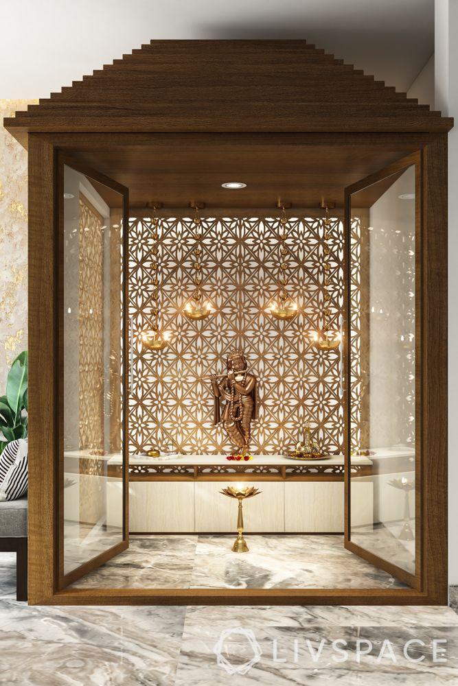 mandir at home-marble flooring-backlit jaali panel-lamps