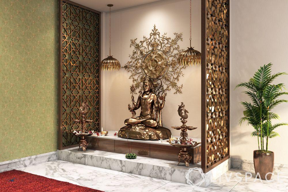 mandir at home-floor seating-carpet-floor cushions-jaali panel-idol-lamps