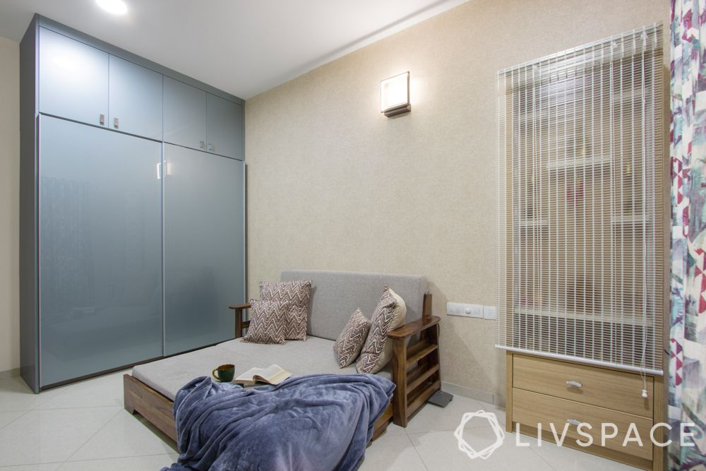 home interiors Bangalore-pooja unit-sofa-cum-bed-tv unit-study