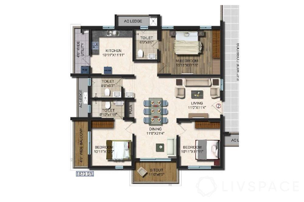 interiors in hyderabad-floor plan