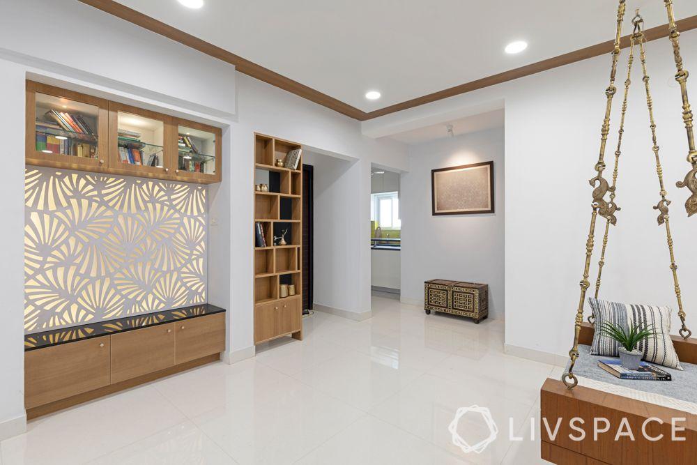 bookshelf partition-jhoola-CNC cut jali-granite seating