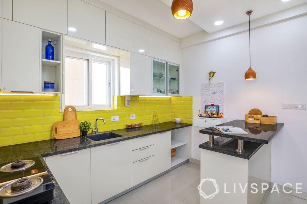 subway tiles-yellow backsplash-high gloss laminate cabinets