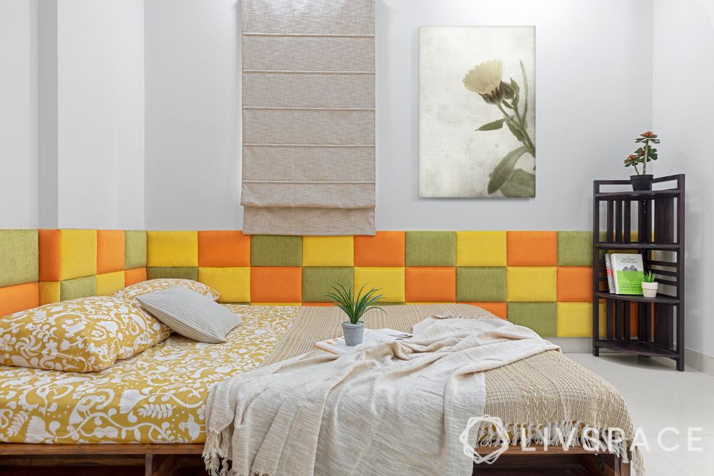 interiors in hyderabad-headboard-colourful room-low bed