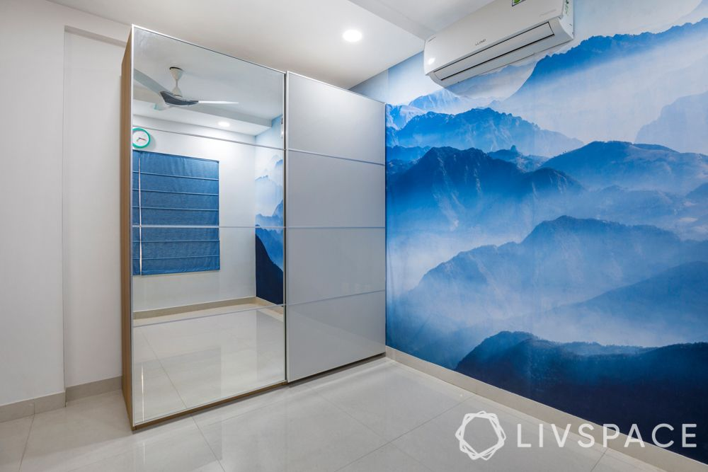 interiors in hyderabad-digital wallpaper-mountain wallpaper-study unit and custom storage