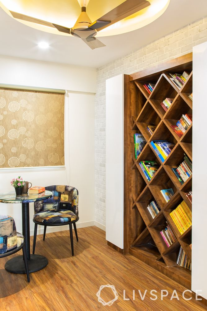 Wood interior design-bookshelf-reading nook