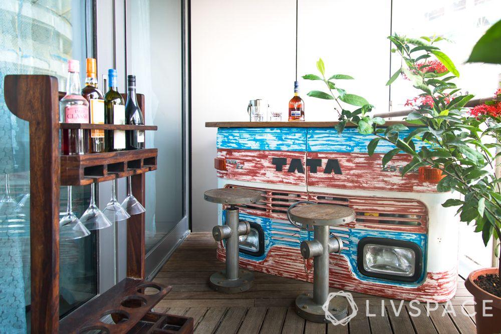 bar space-bar unit-wine rack