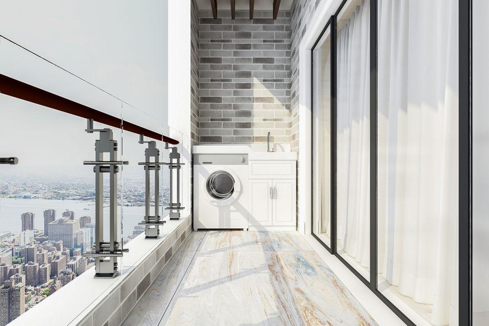 Balcony-washing machine-drying stand