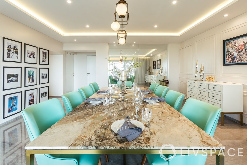 Indian marble and Italian marble-dining tabletop-mint green
