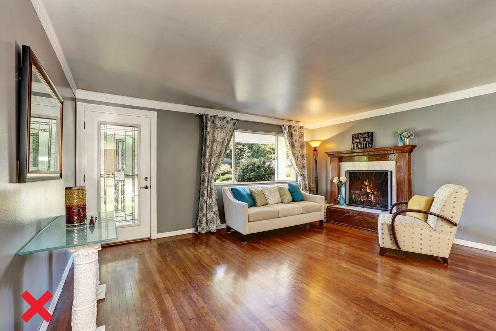 interior design mistake-wooden flooring-blocking window