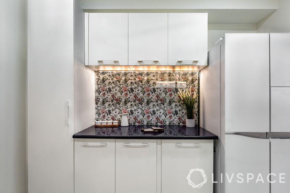 ceramic backsplash-PU finish cabinets-floral backsplash-tall unit