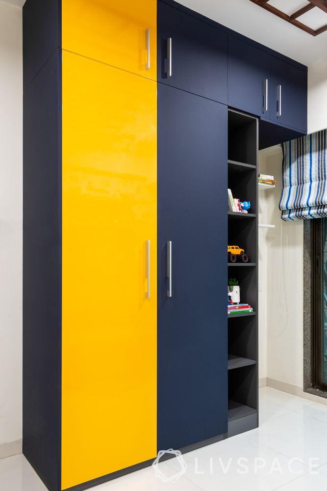 wardrobe colours-yellow and blue wardrobe