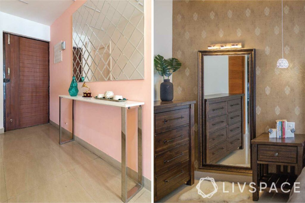small budget big makeover-mirror-foyer-floor mirror