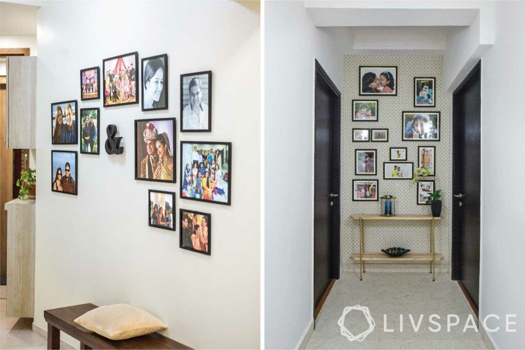 small budget big makeover-photo wall-hallway-foyer