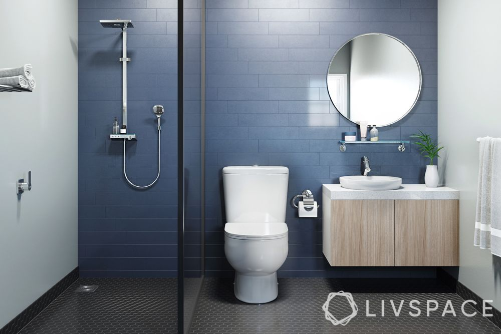 shower cubicles-blue tiles-dry zone-wet zone-vanity