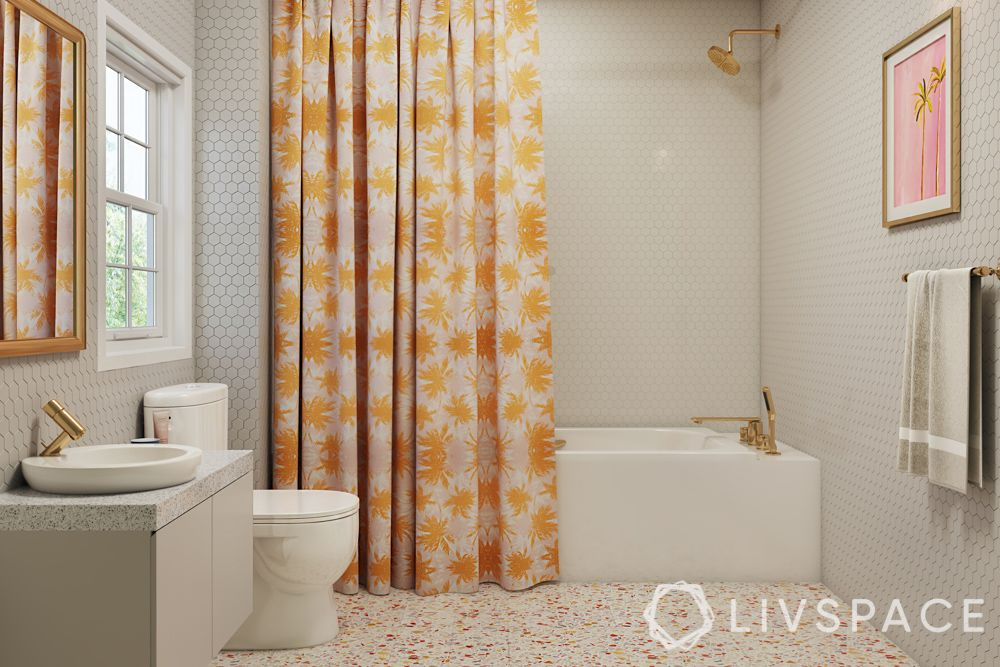 shower cubicles-curtain-tub-terrazzo floor-ceilings