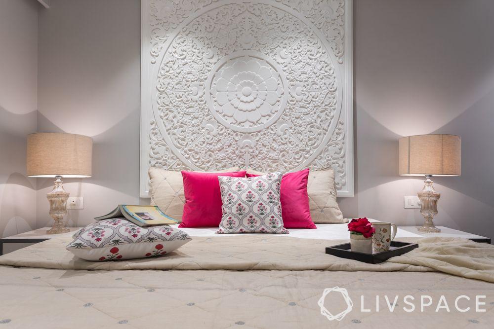 pop designs-white walls-pink cushions