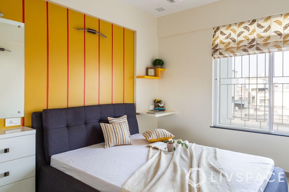 pune interior design-parent room-upholstered bed-display shelves