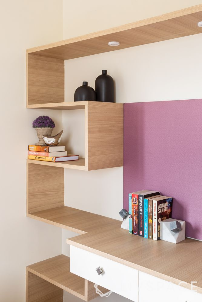 pune interior design-brother bedroom-laminate shelves-display-storage