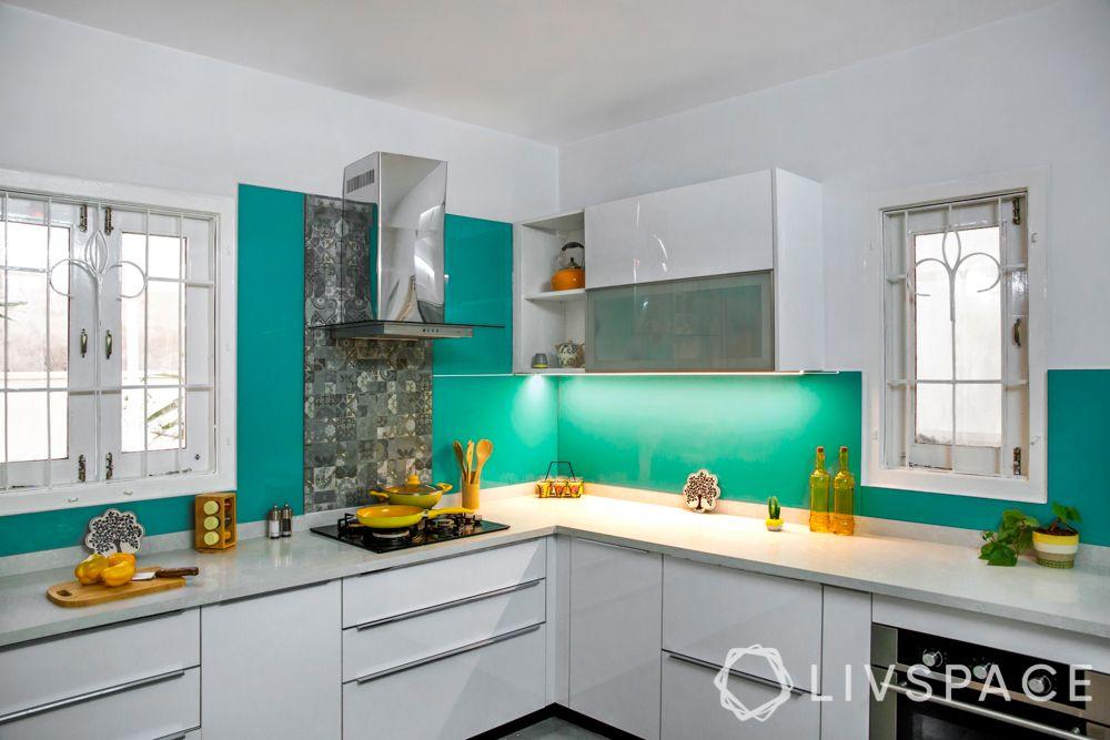 kitchen tiles design-Aqua shades