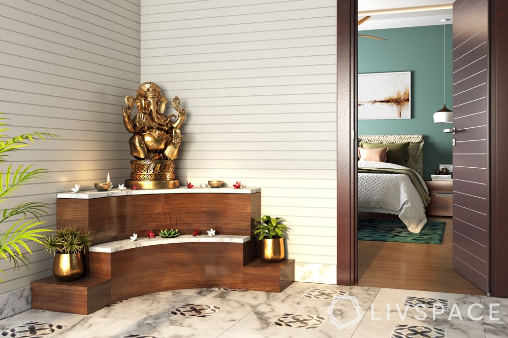 small pooja room designs in apartments-wall corner-wooden blocks
