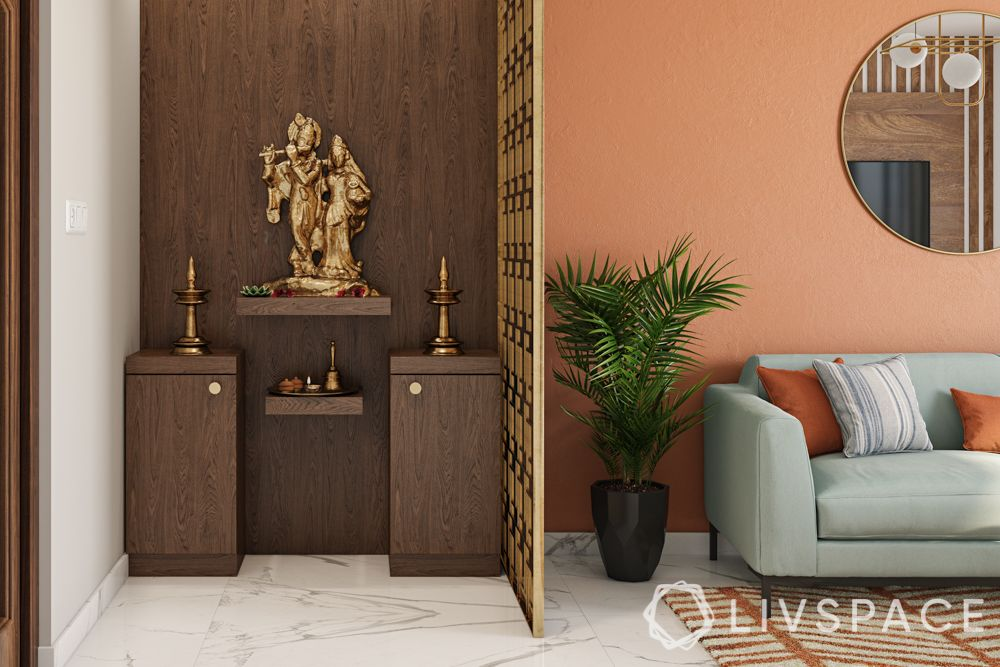 small pooja room designs in apartments-living room-jaali divider-wooden storage