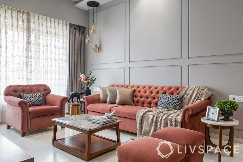 full house interior design-pink sofa-gypsum wall