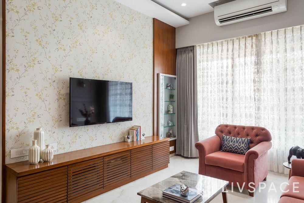 full house interior design-pink sofa-veneer finish TV unit