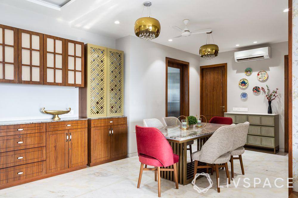 full house interior design-pink sofa-crockery unit