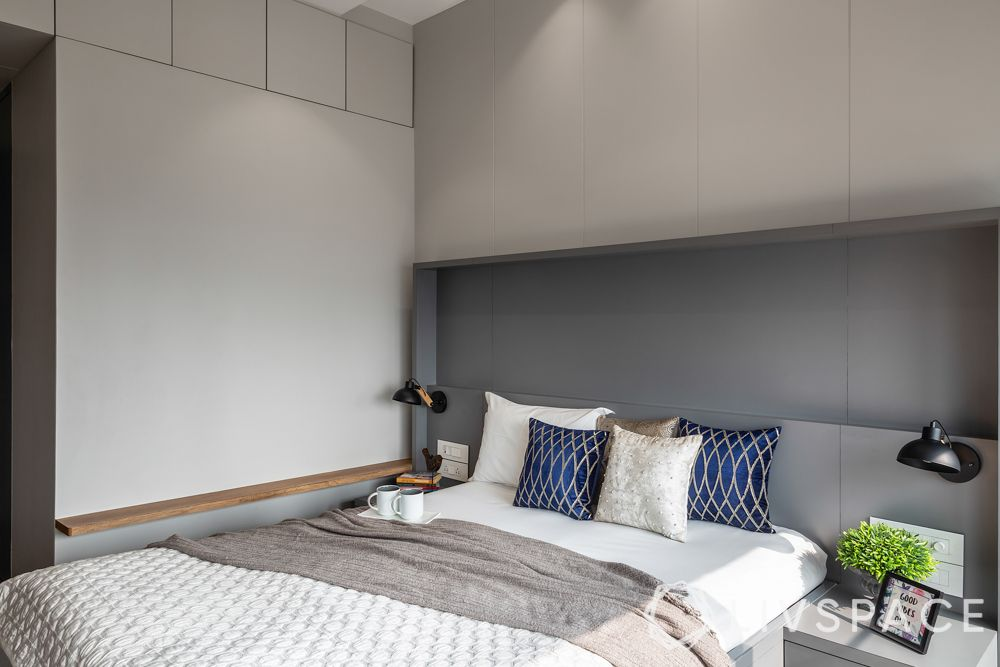full house interior design-grey walls-concealed storage