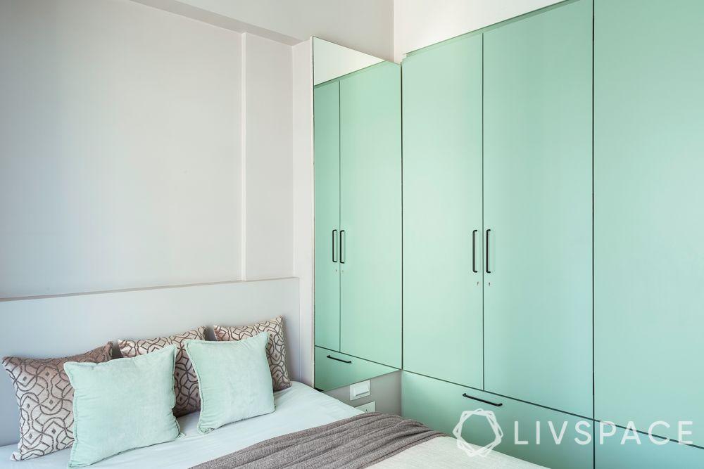 mumbai 3BHK-green wardrobe-laminate finish